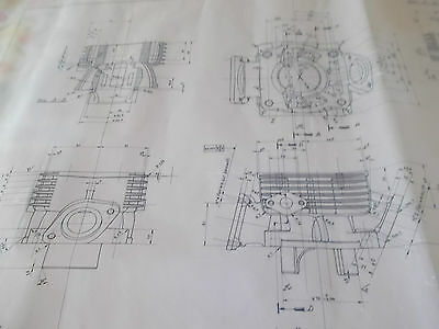 "Benelli 125 2T A "" Cylinder ""(engine) _ Original Drawing Benelli (No bleuprint)"