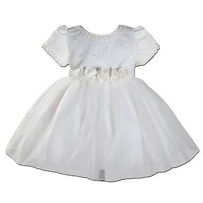 New Ivory Satin Christening Party Flower Girl Dress 9-12 Months