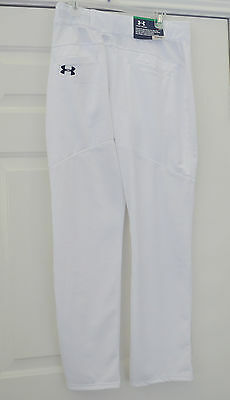 Under Armour Baseball Pants White Youth Relaxed Fit Heat Gear UA Boys Softball