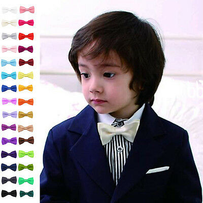 Lot of Children Girl Boy Toddler Bowtie Pre Tied Wedding Bow Tie Plain Necktie*