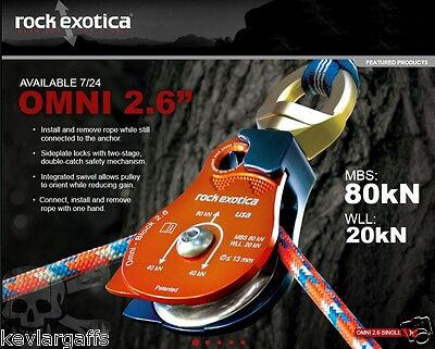 """ROCK EXOTICA  Omni-Block 2.6"""" Pulley single sheave block for 1/2 inch Rope 80Kn"""