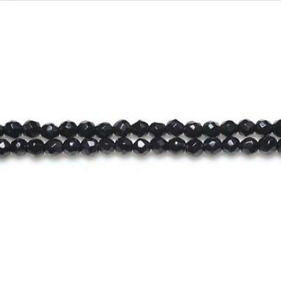 Packet of 15 x Black Onyx 3mm Faceted Round Beads VP1060