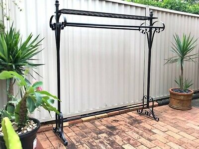 Strong Quality Iron Clothing Rack 2 Rails Shelf Free Stand Home Shop DRS005-BLK