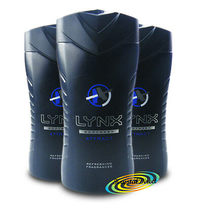 3x Lynx Attract For Him Mens Body Bath Refreshing Shower Gel 250ml