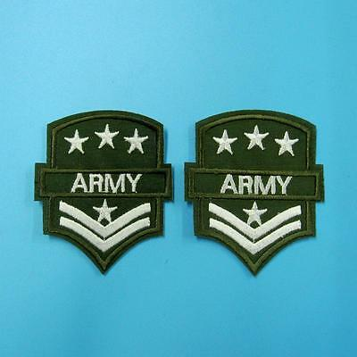 2 Army Military Wing Airforce Iron on Sew Embroidered Patch Badge Applique Lot