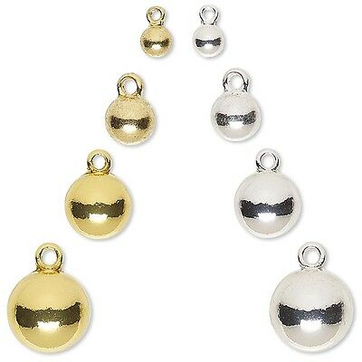 10 Round Ball Dangle Drop Tag Charms W/ Loop Plated Pewter Metal Small - Big
