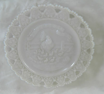 Little Hen Said She Would & She Did Wonderful Victorian Milk Glass Plate