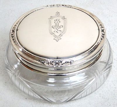 Circa 1920's Gorham Sterling Silver & Cut Crystal Powder Jar