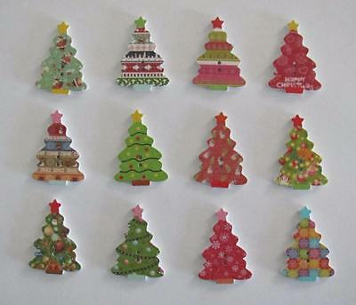 BB BUTTONS PATTERNED CHRISTMAS TREES WOOD mixed pk of 15 BULK sewing craft xmas