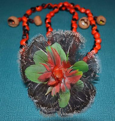 Native South American Seed Bead & Feather Camsa Indian Tribal Necklace, Colombia