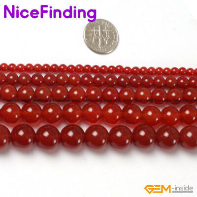 """Round Red Agate Gemstone 15""""Natural Stone Beads for Jewelry Making 4mm-18mm Pick"""