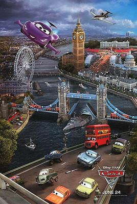 Cars 2 Advance London Double Sided Original Movie Poster 27x40 inches