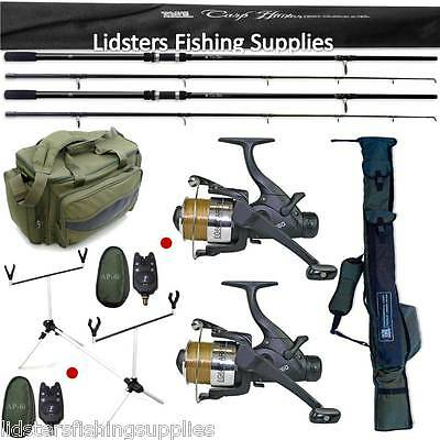 Carp Fishing set up Lineaeffe 2 Rods Reels Bite Alarms Holdall Rod Pod + 909 Bag