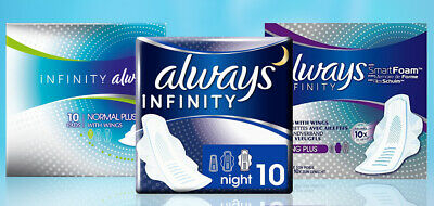 Always Infinity Sanitary Towels with Wings (Normal , Long Plus , Night Pads)