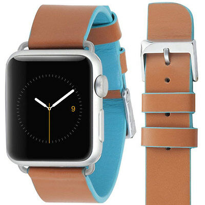 New Case-Mate Edged Apple Watch Leather Wrist Strap Band Tan Cerulean Blue 38Mm