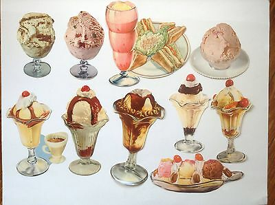 10 Vintage Ice Cream Die Cut Paper Signs Soda Fountain Dairy Advertising #1