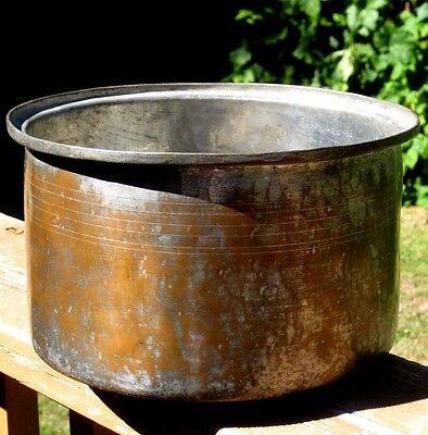 """Vintage Rustic Handmade Tinned Solid Copper Pot / Planter 5.75"""" Tall 9.25"""" Wide"""