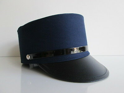 Adult Navy Blue Train Conductor Hat Gendarme Officer French Police Costume Cap