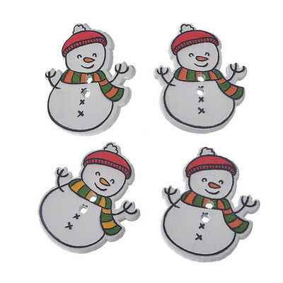 30PCs Christmas Snowman Shaped 2 Holes Wooden Buttons Sewing DIY Scrapbooking