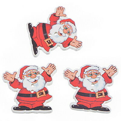 HQ 30 Red Christmas Santa Claus 2 Holes Wooden Buttons Sewing DIY Scrapbooking