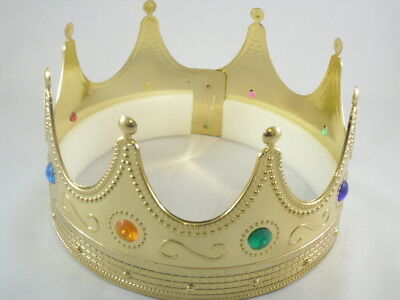 Unisex Adult Gold Hard Plastic Royal King Costume Crown Hat W/ Colored Jewels