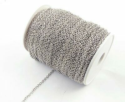 A 100 Meter Roll of Platinum Plated Fine Trace Chain. 2mm Wide  J1528