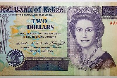 Free Shipping: One Crisp Uncirculated Belize 1990 $2.00 Dollar Note (NUM1625)