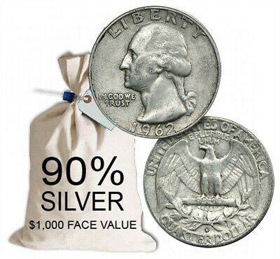 90% Silver Washington Quarters - $1000 Face Value Bag