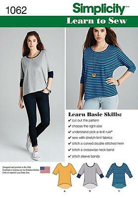SIMPLICITY SEWING PATTERN Misses' Learn to Sew Knit Tops SIZE XXS - XXL 1062