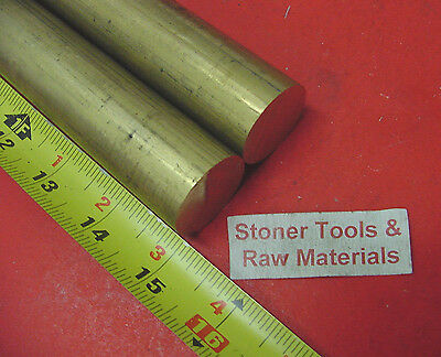 """2 Pieces 1-1/8"""" C360 BRASS SOLID ROUND ROD 15"""" long 1.125"""" H02 Lathe Bar Stock"""