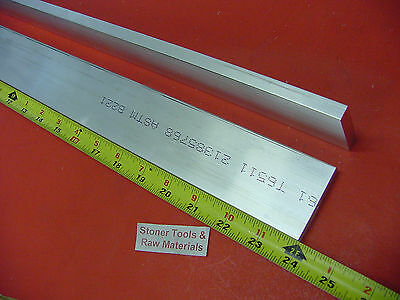 "2 pieces 1/4"" X 2"" ALUMINUM 6061 FLAT BAR 24"" long T6511 .25"" Plate Mill Stock"