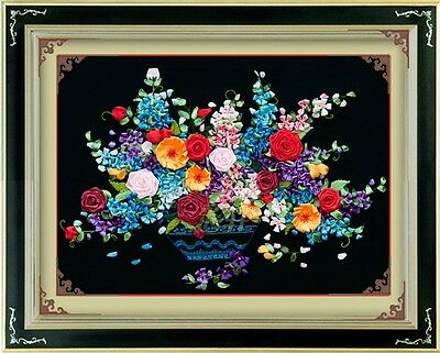 Ribbon Embroidery Kit Blooming Flowers 65x50cm RE1004