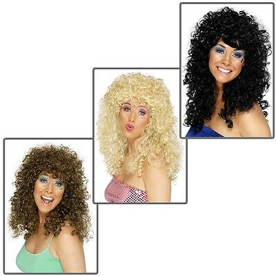 Disco Wig Adult Womens 70s Long Curly Halloween Costume Fancy Dress