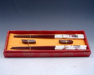 Gift Set 2 Pairs Plum Blossoms Painted Wooden Chopsticks w/ 2 Holders Brand New