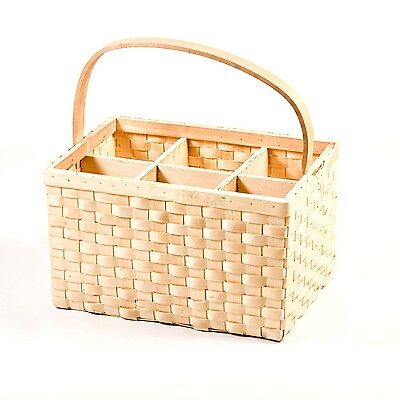 Bottle Carrier 6 Steamed Willow Wicker Milk Holder Vine Drink Basket Trendy KB17