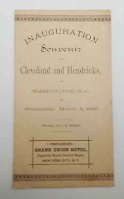 1885 Scarce Inauguration Program Cleveland & Hendricks