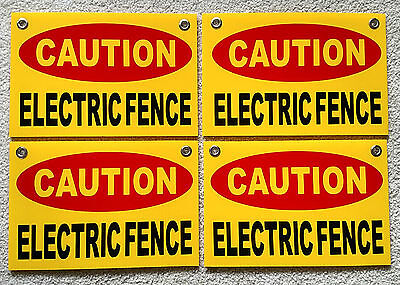 """2 CAUTION ELECTRIC FENCE Plastic Coroplast Signs 8/""""X12/"""" w//Grommets FREE SHIPPING"""