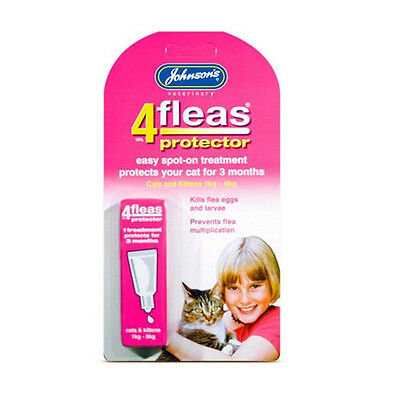 Johnsons 4flea Cat Kitten Protector Kill Flea Egg 3 Month Trendy Value Treatment