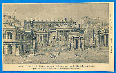 Ancient Rome Roman Forum Helmolt World History Illustration Sample Print ~German