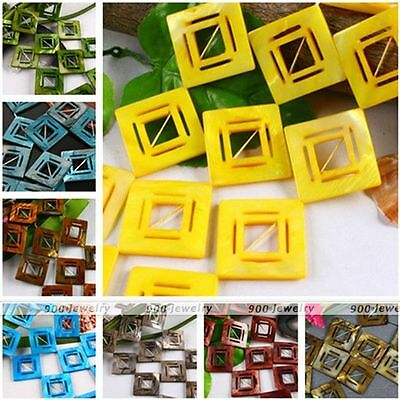1 Strand Hollow Square Mother Of Pearl Shell Loose Beads Jewellery DIY Gift 38mm