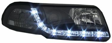 Audi A4 (1999-2000) Black DRL Devil Angel Eyes Front Headlights Lights - Pair