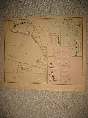 Antique 1874 Lordstown Leavittsburg Orangeville Trumbull County Ohio Handclr Map