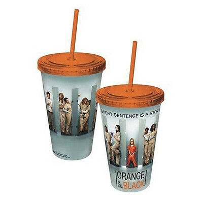 Orange Is The New Black TV Series Cast Plastic Travel Cup with Straw NEW UNUSED
