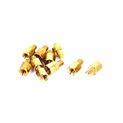 M3x5mm+4mm Male to Female Thread 0.5mm Pitch Brass Hex Standoff Spacer 10Pcs