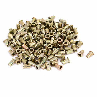 300pcs M4 Carbon Steel Serrated Flat Head Threaded Rivet Nuts Nutserts
