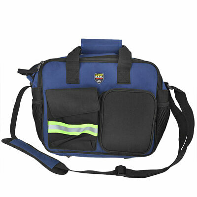 Reflective Stripe 3 Main Compartments Blue Electrician Tool Tote Shoulder Bag