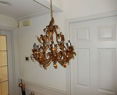 Ornate Vintage Metal Floral / Leaf Motif Chandelier