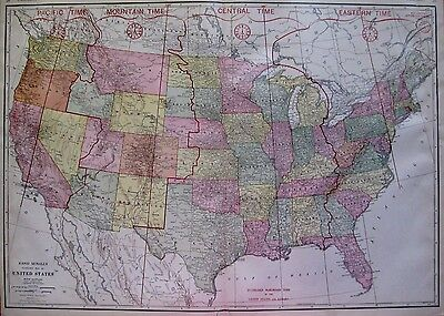 1927 Uncommon UNITED STATES Map Rare Size 19 x 26 Gallery Wall Art 2027
