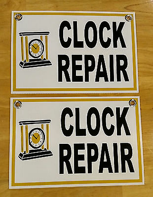"(2) CLOCK REPAIR Plastic Coroplast SIGNS  8"" BY 12""  NEW"