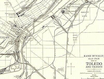 1927 RARE TOLEDO Ohio Map of Toledo Original Collectible Map  2033
